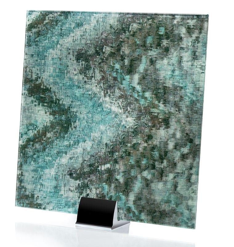 3001-ALT - Watercolor Green on Mirror | Fabric Laminated Mirror