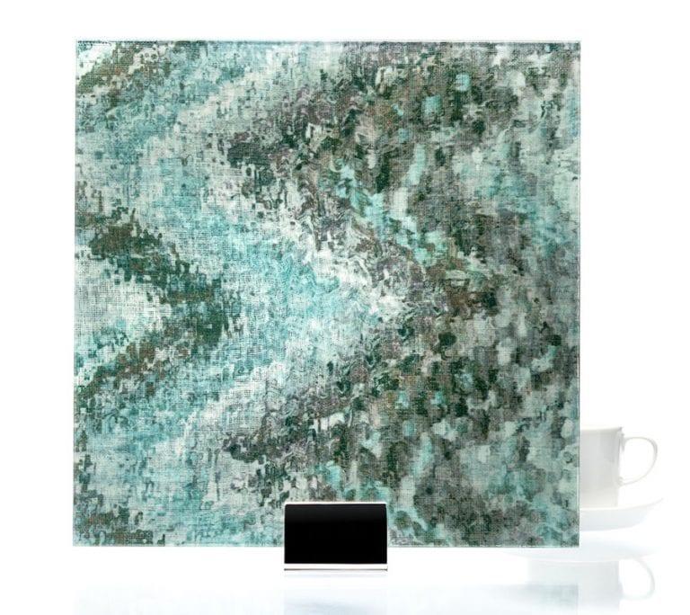 3001 - Watercolor Green on Mirror | Fabric Laminated Mirror