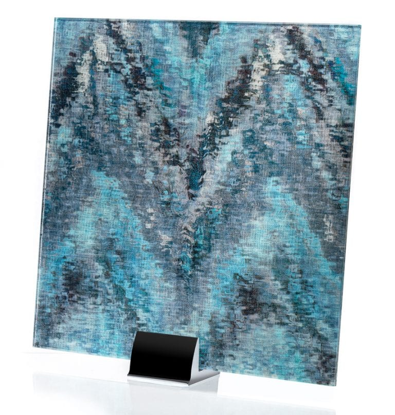 3007-ALT - Watercolor Blue on Mirror - Fabric Laminated Mirror