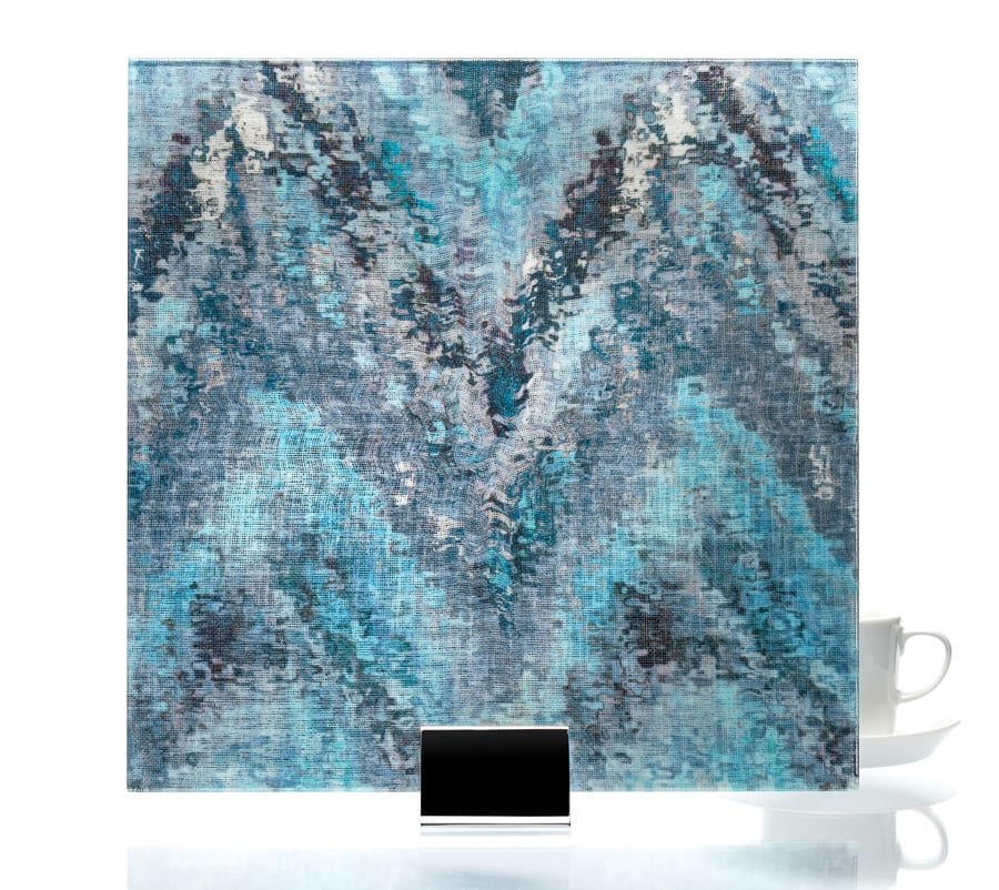 3007 - Watercolor Blue on Mirror - Fabric Laminated Mirror