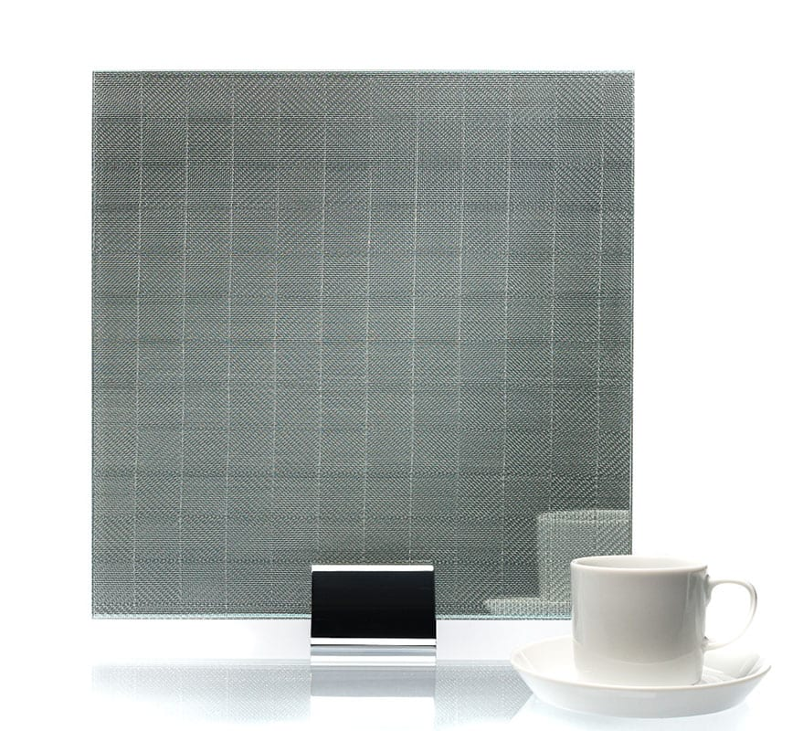 3500-Checked Clear Silver Metal Laminated Glass