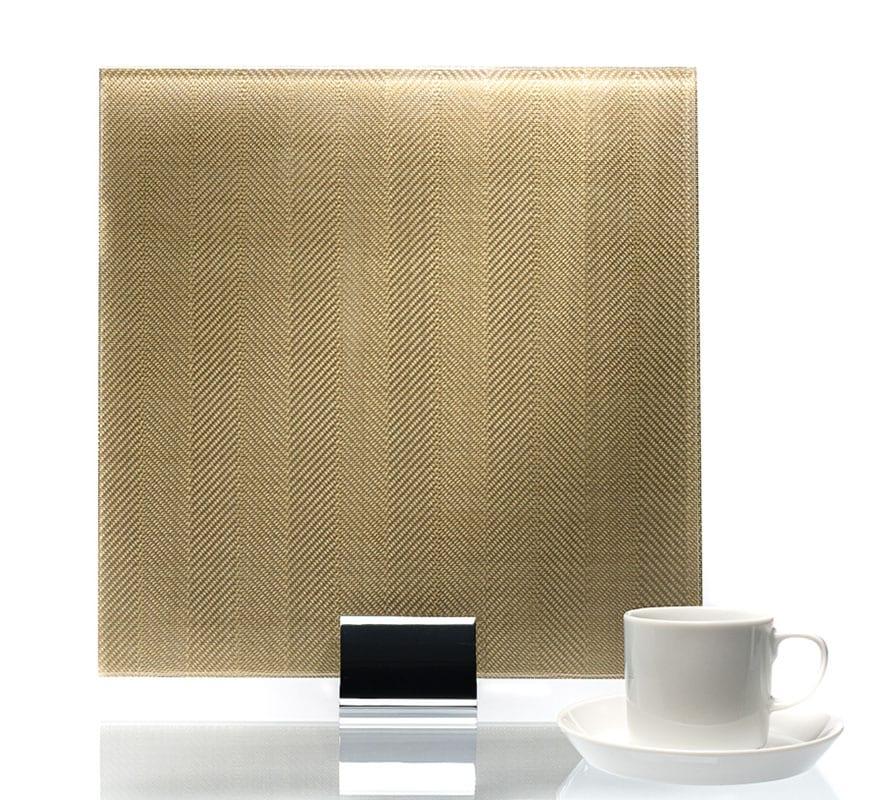 3519-Chevron Satin Gold Metal Laminated Glass