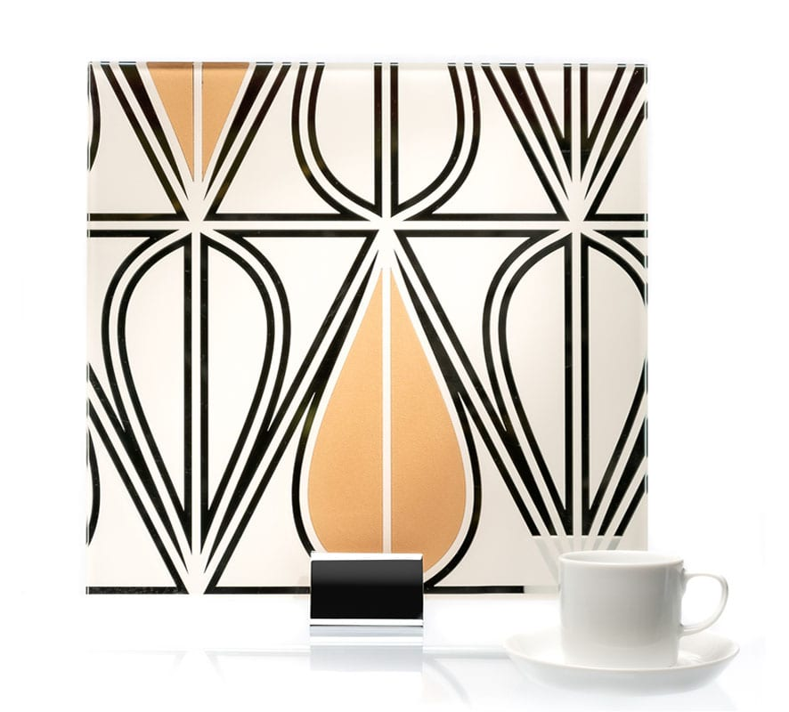 0000-Art Deco Pattern Etched and Painted Mirror